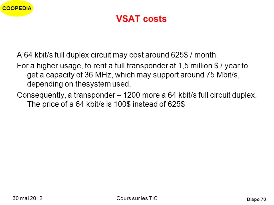 VSAT costs A 64 kbit/s full duplex circuit may cost around 625$ / month.