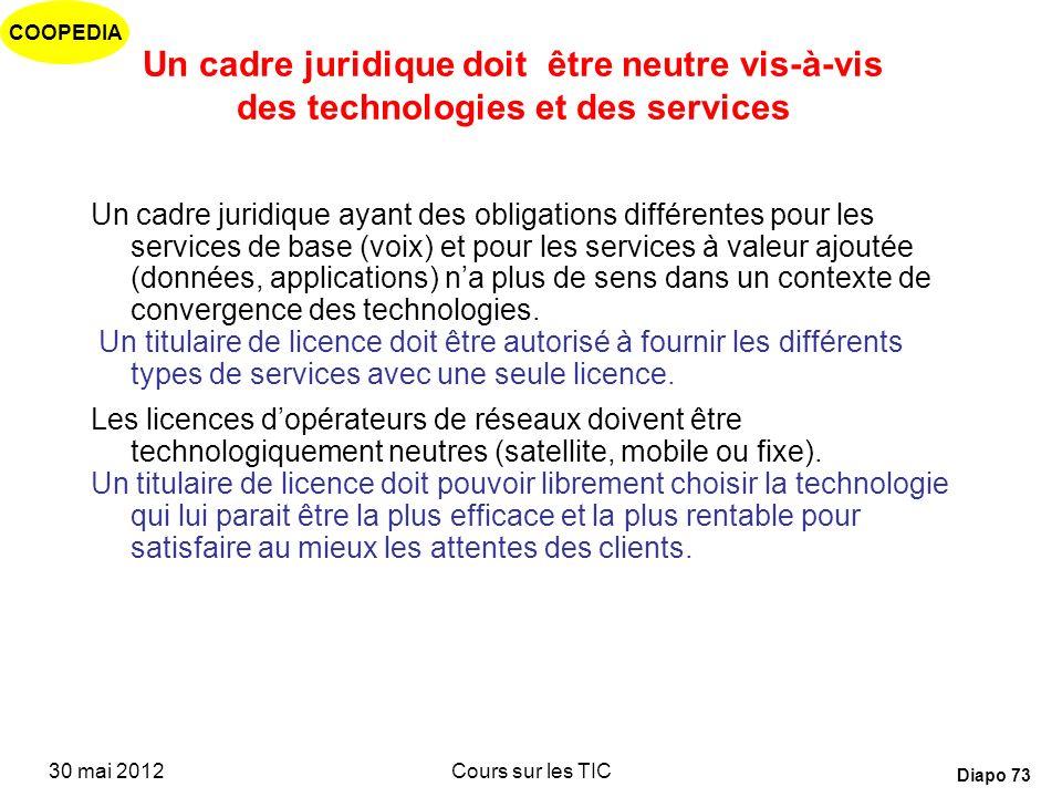 Un cadre juridique doit être neutre vis-à-vis des technologies et des services