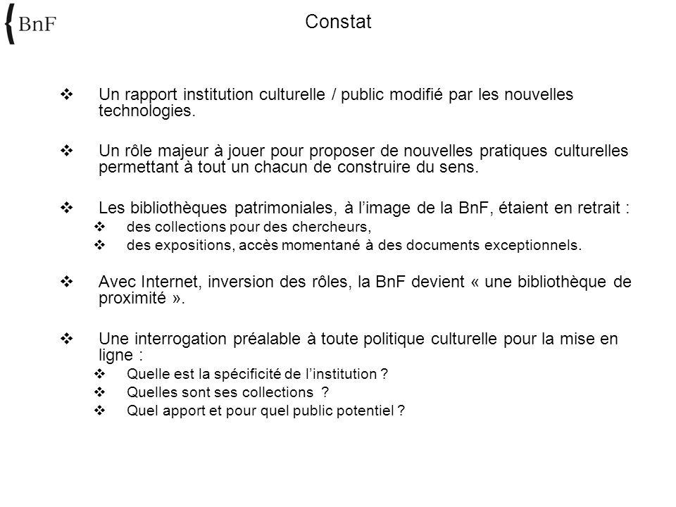 Constat Un rapport institution culturelle / public modifié par les nouvelles technologies.