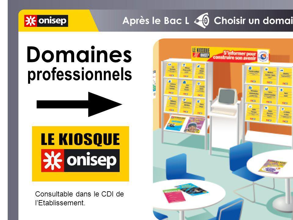 Domaines professionnels LE KIOSQUE Après le Bac L Choisir un domaine