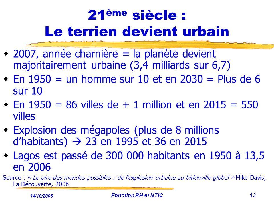 21ème siècle : Le terrien devient urbain