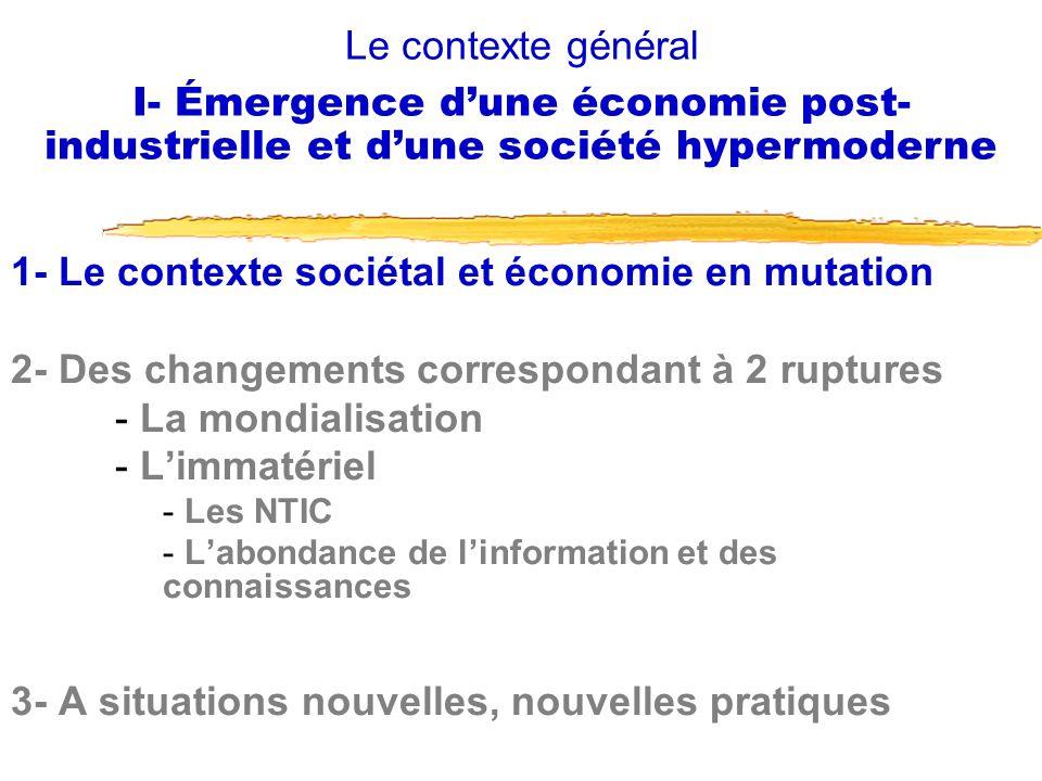 1- Le contexte sociétal et économie en mutation