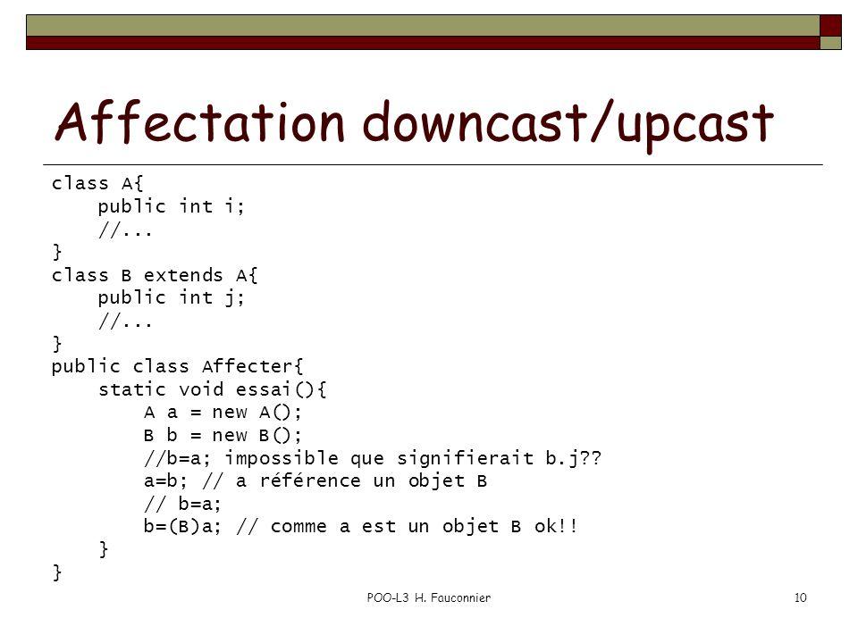 Affectation downcast/upcast