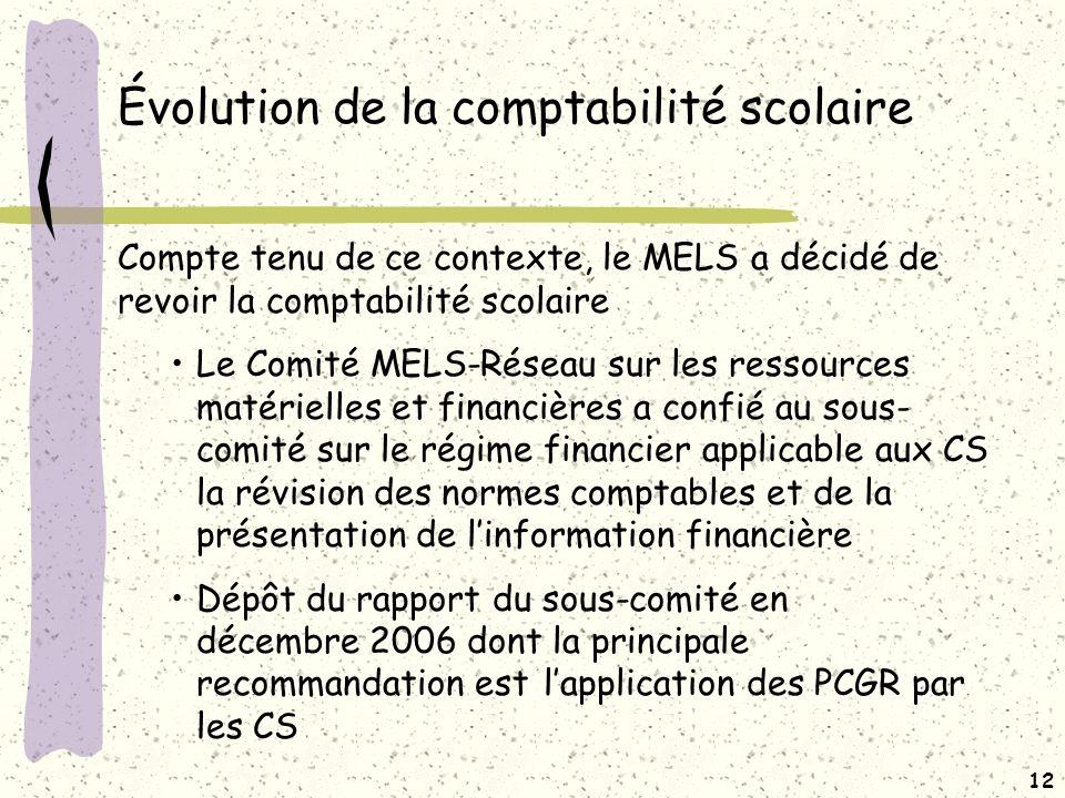 Évolution de la comptabilité scolaire (suite)