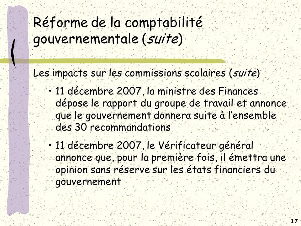 Réforme de la comptabilité gouvernementale (suite)