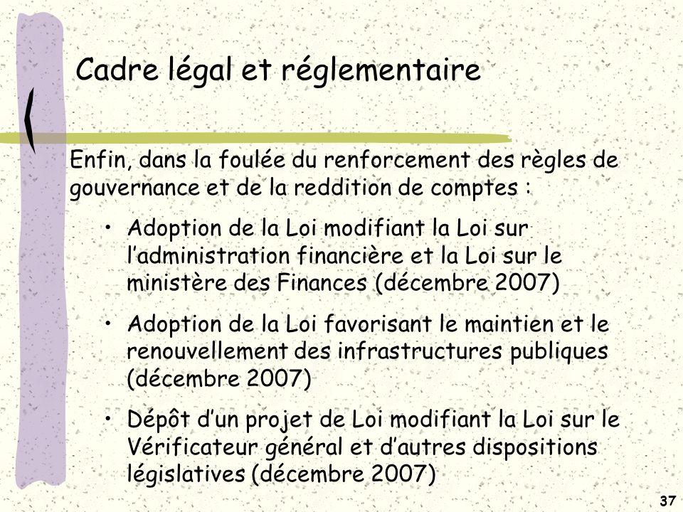 Cadre légal et réglementaire Loi modifiant la Loi sur l'administration financière et la Loi sur le ministère des Finances