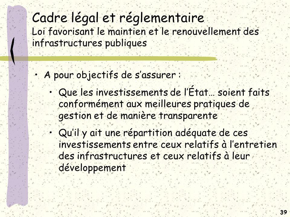 Cadre légal et réglementaire Loi favorisant le maintien et le renouvellement des infrastructures publiques (suite)