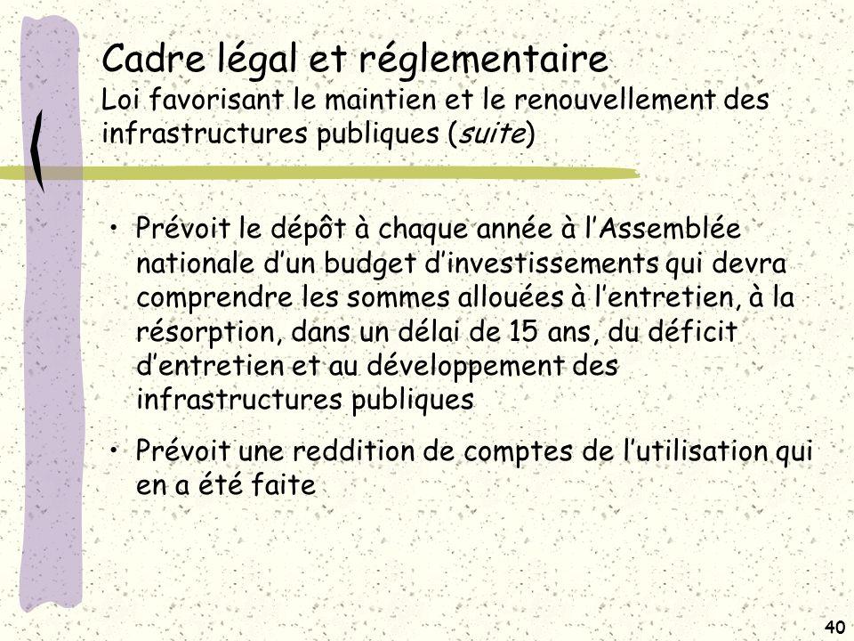 Cadre légal et réglementaire Loi modifiant la Loi sur le VG