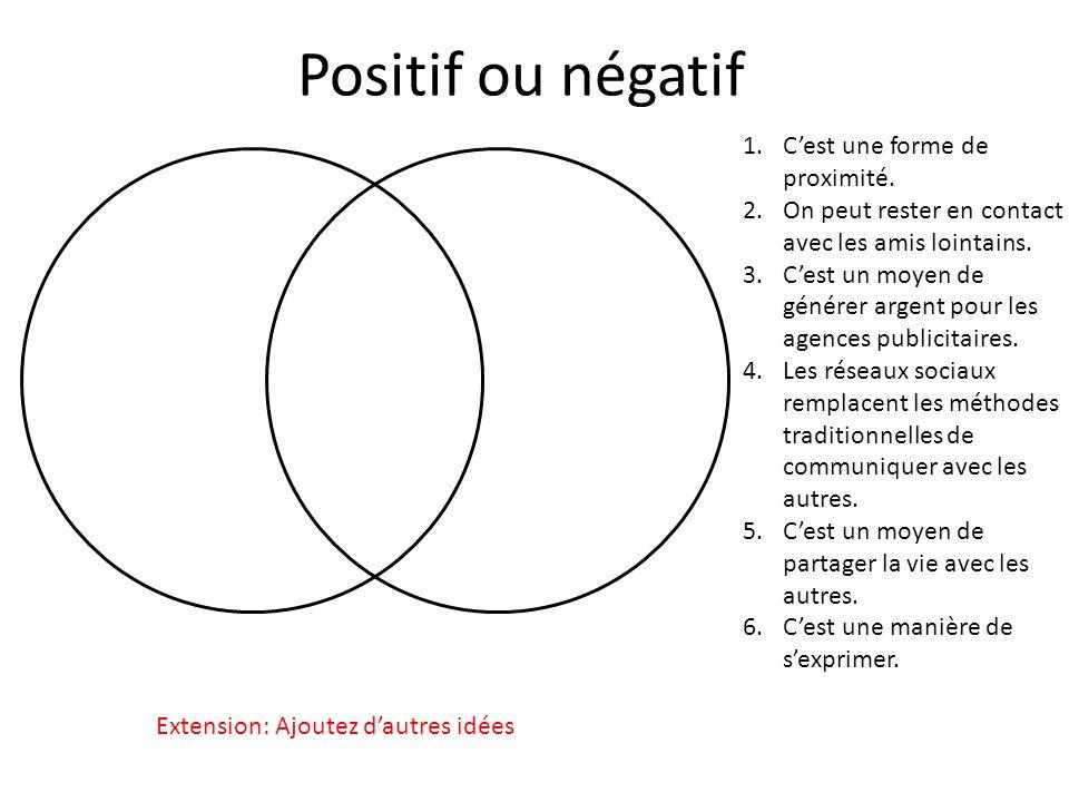 Positif ou négatif C'est une forme de proximité.