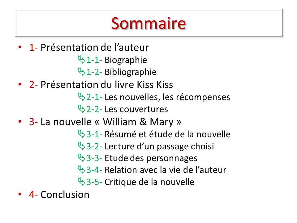Sommaire 1- Présentation de l'auteur