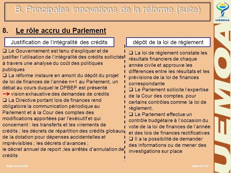 Le rôle accru du Parlement