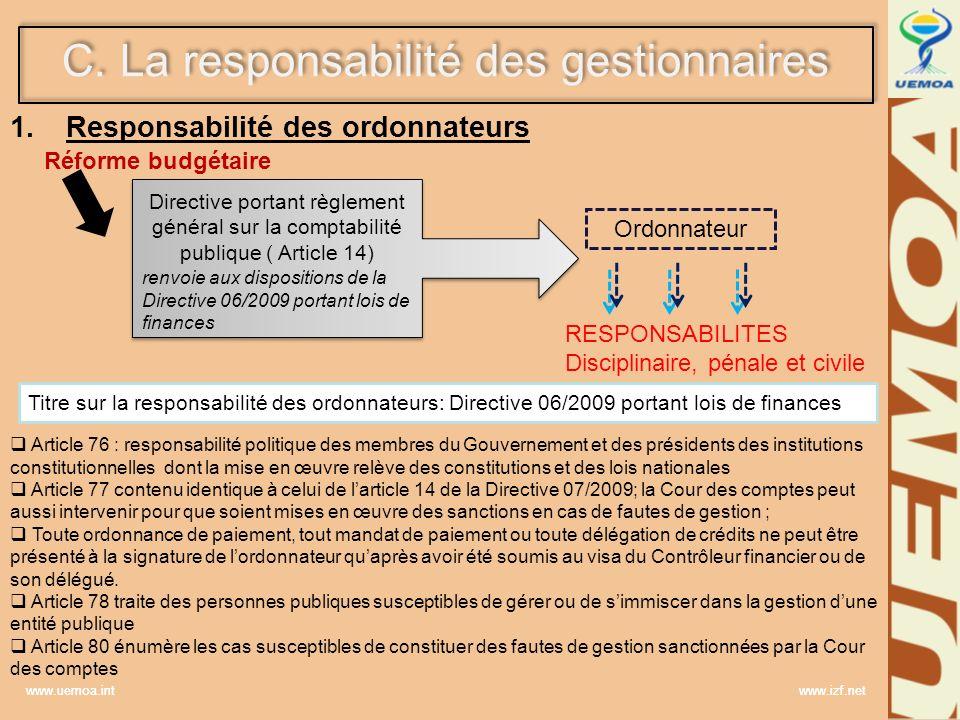 Responsabilité des ordonnateurs