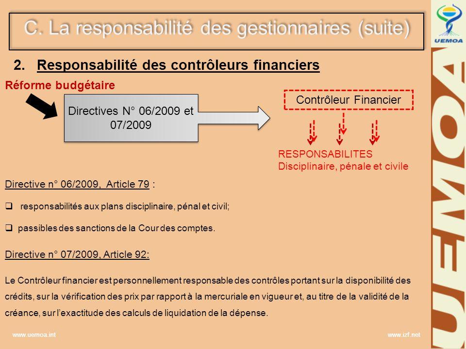 Responsabilité des contrôleurs financiers