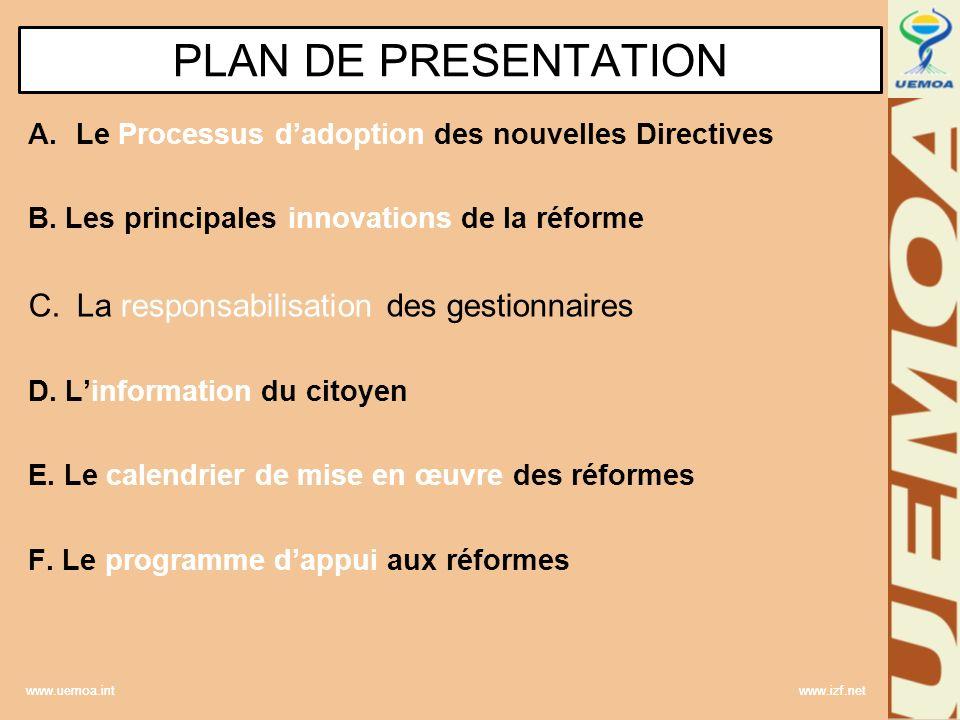 PLAN DE PRESENTATION La responsabilisation des gestionnaires