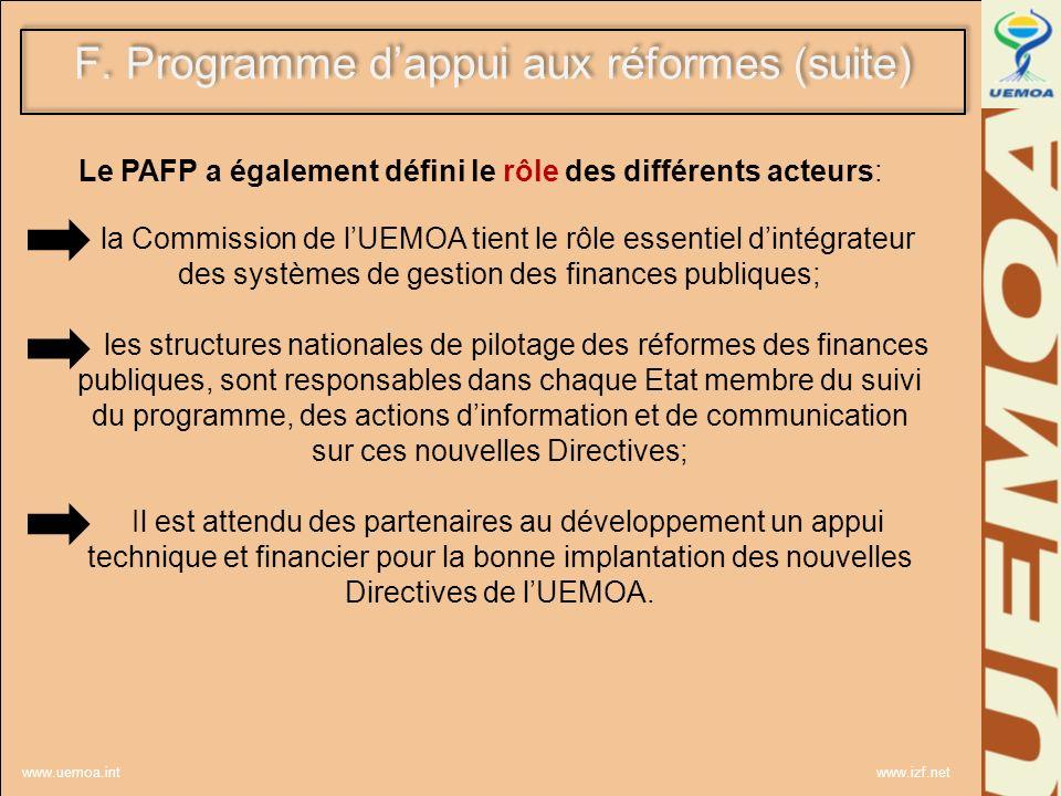 F. Programme d'appui aux réformes (suite)