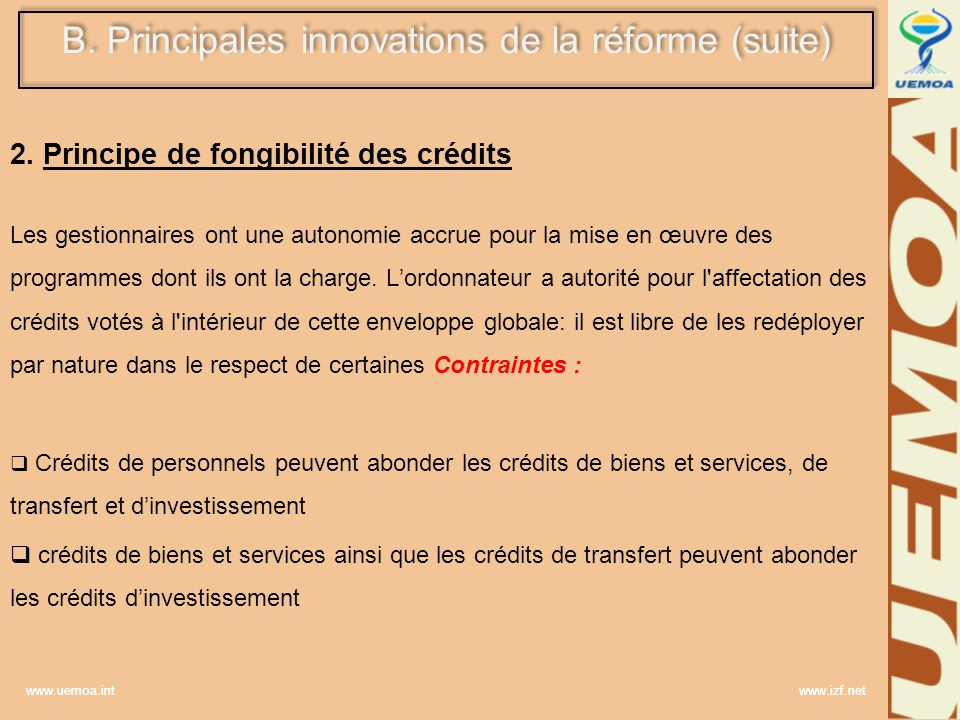 B. Principales innovations de la réforme (suite)