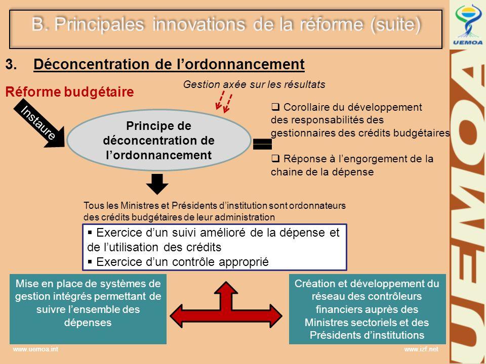 Déconcentration de l'ordonnancement Réforme budgétaire