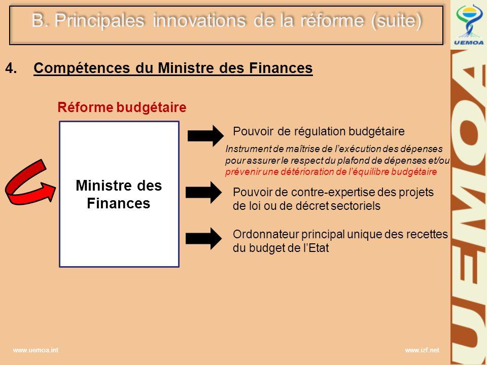 Compétences du Ministre des Finances Réforme budgétaire