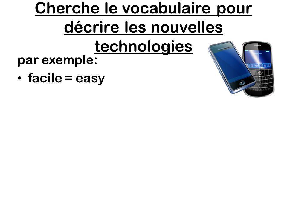 Cherche le vocabulaire pour décrire les nouvelles technologies