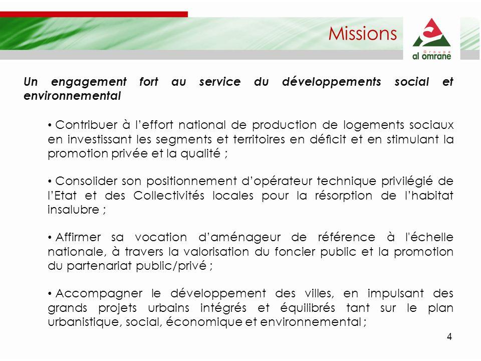 Missions Un engagement fort au service du développements social et environnemental.