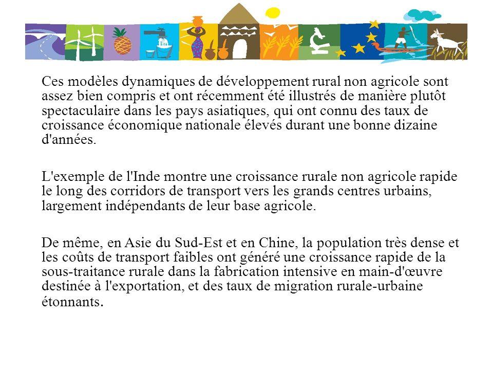 Ces modèles dynamiques de développement rural non agricole sont assez bien compris et ont récemment été illustrés de manière plutôt spectaculaire dans les pays asiatiques, qui ont connu des taux de croissance économique nationale élevés durant une bonne dizaine d années.