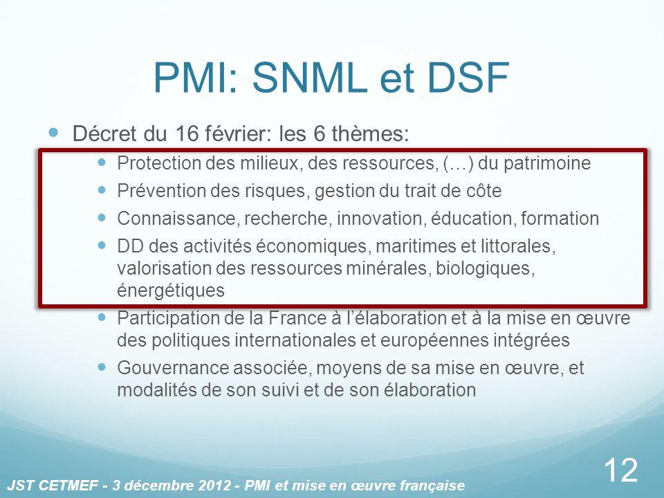PMI: SNML et DSF Décret du 16 février: les 6 thèmes: