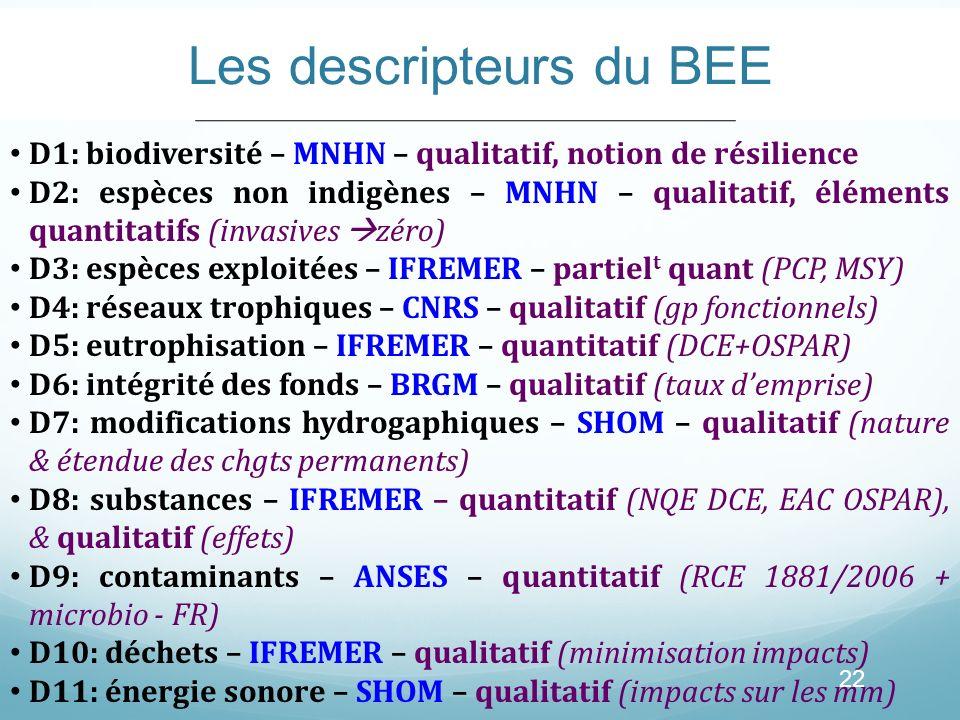 Les descripteurs du BEE