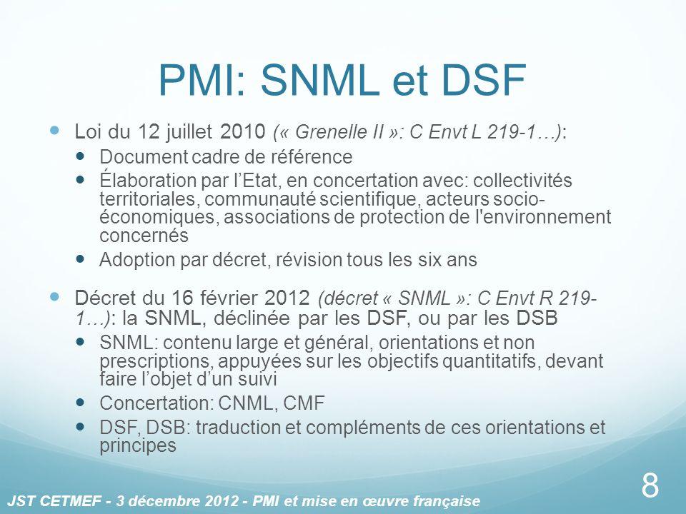 PMI: SNML et DSF Loi du 12 juillet 2010 (« Grenelle II »: C Envt L 219-1…): Document cadre de référence.