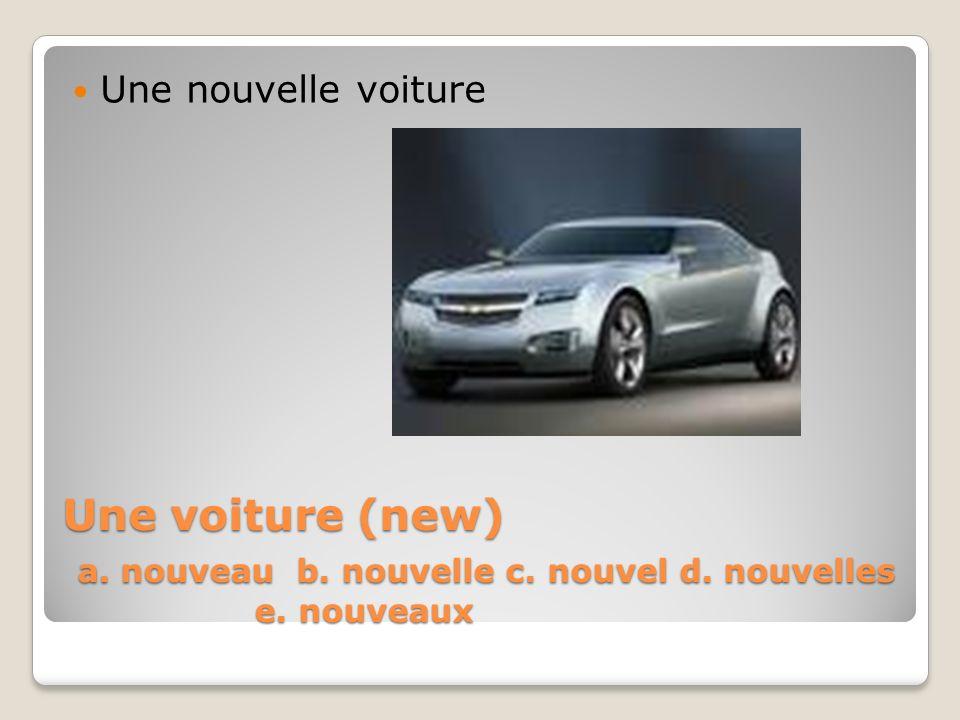 Une nouvelle voiture Une voiture (new) a. nouveau b.