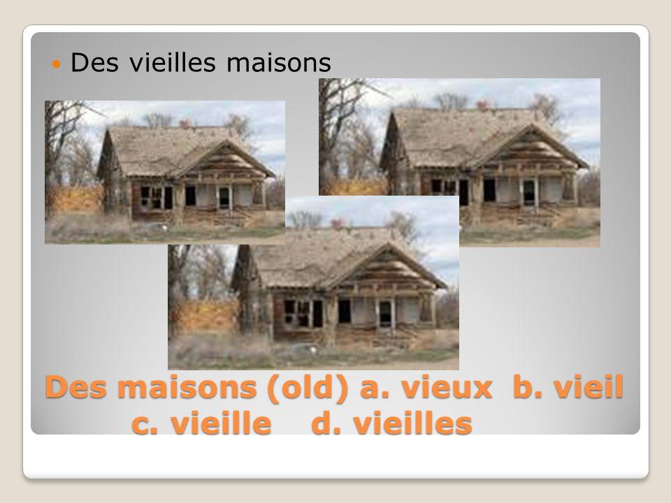 Des maisons (old) a. vieux b. vieil c. vieille d. vieilles