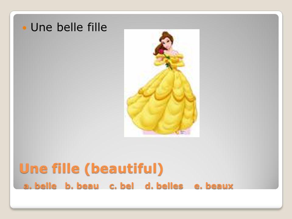 Une fille (beautiful) a. belle b. beau c. bel d. belles e. beaux