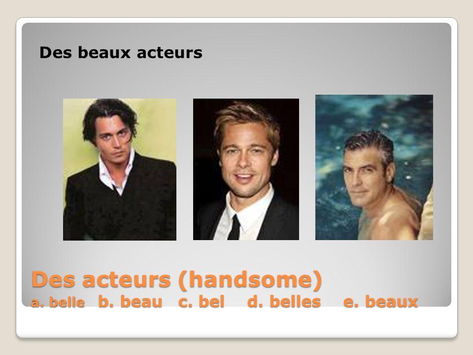 Des acteurs (handsome) a. belle b. beau c. bel d. belles e. beaux