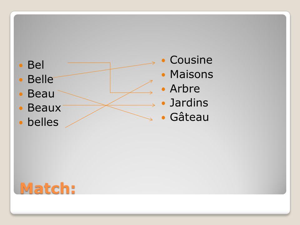 Match: Cousine Bel Maisons Belle Arbre Beau Jardins Beaux Gâteau