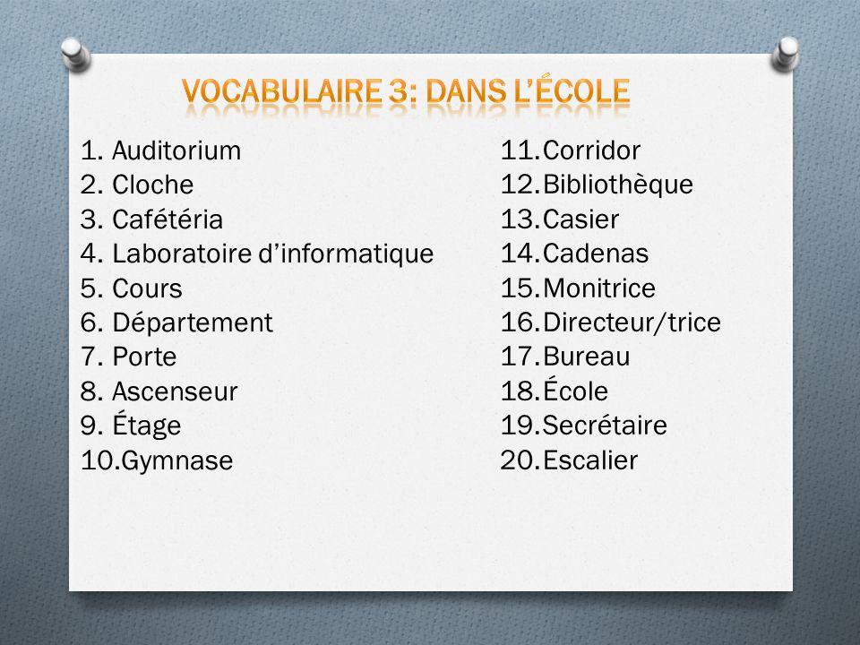Vocabulaire 3: Dans l'école