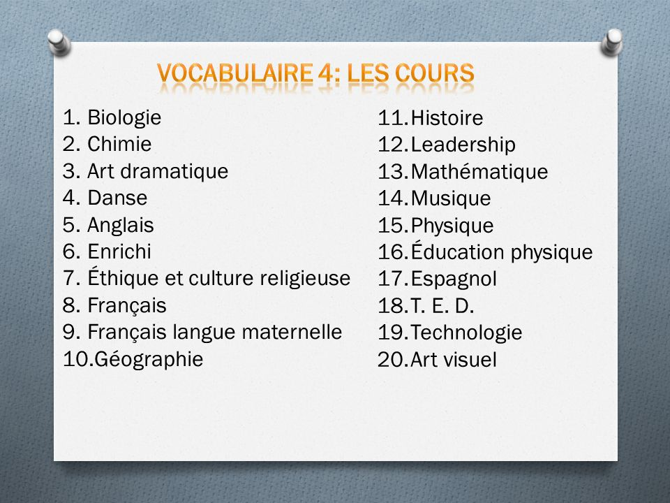 Vocabulaire 4: Les cours