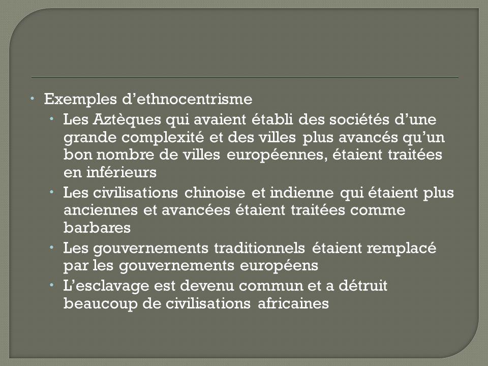 Exemples d'ethnocentrisme
