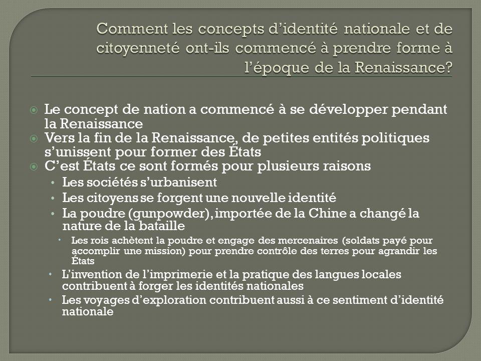 Comment les concepts d'identité nationale et de citoyenneté ont-ils commencé à prendre forme à l'époque de la Renaissance