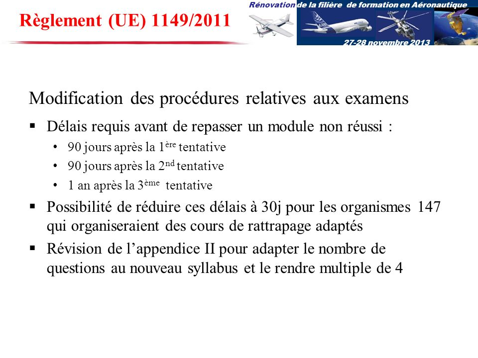 Modification des procédures relatives aux examens