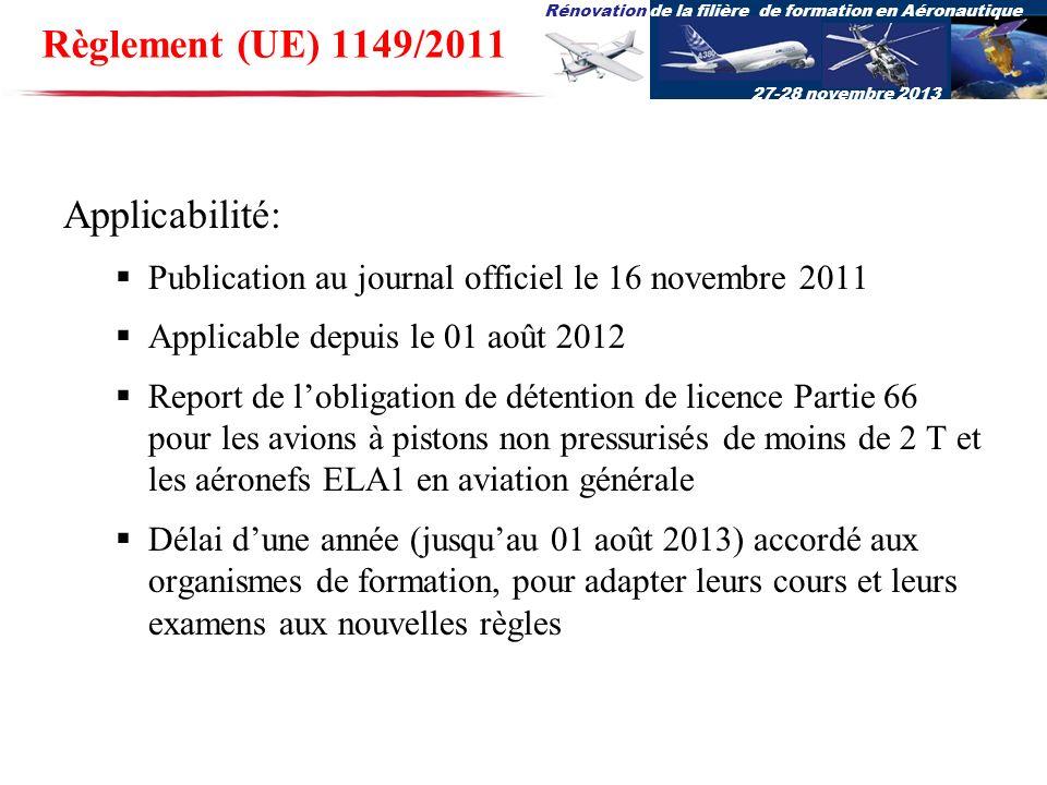 Règlement (UE) 1149/2011 Applicabilité: