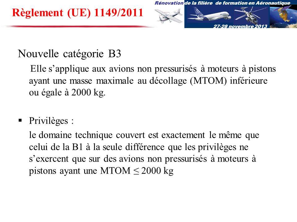 Règlement (UE) 1149/2011 Nouvelle catégorie B3 Privilèges :