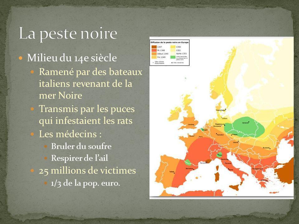 La peste noire Milieu du 14e siècle