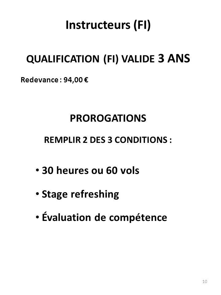 QUALIFICATION (FI) VALIDE 3 ANS REMPLIR 2 DES 3 CONDITIONS :