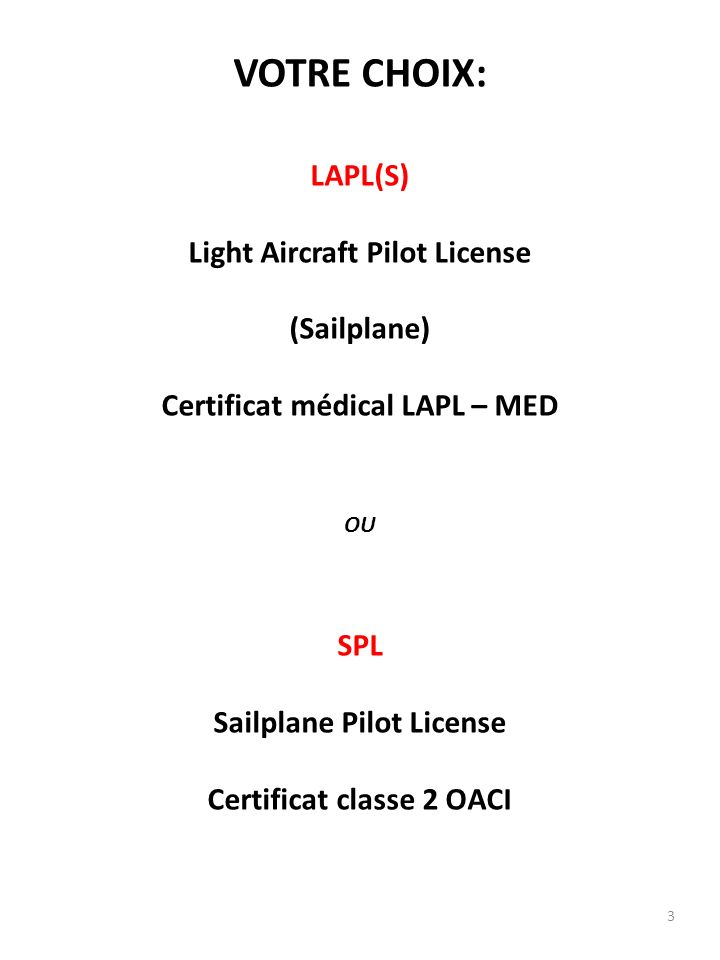 VOTRE CHOIX: LAPL(S) Light Aircraft Pilot License (Sailplane)