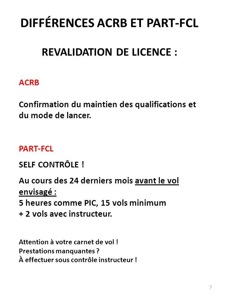 DIFFÉRENCES ACRB ET PART-FCL REVALIDATION DE LICENCE :