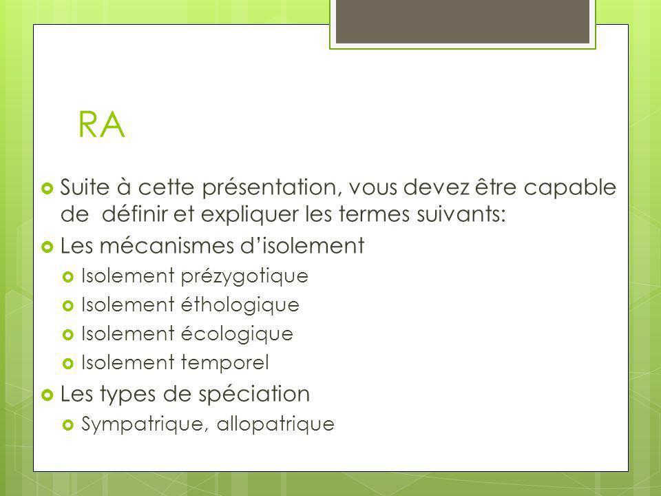 RA Suite à cette présentation, vous devez être capable de définir et expliquer les termes suivants:
