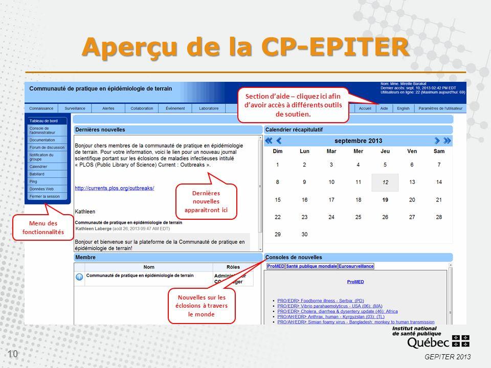 Aperçu de la CP-EPITER Section d'aide – cliquez ici afin d'avoir accès à différents outils de soutien.