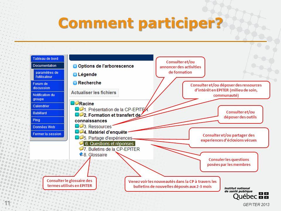 Comment participer Consulter et/ou annoncer des activities de formation.
