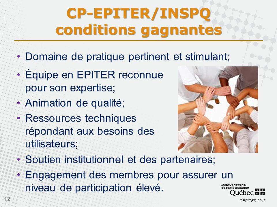 CP-EPITER/INSPQ conditions gagnantes