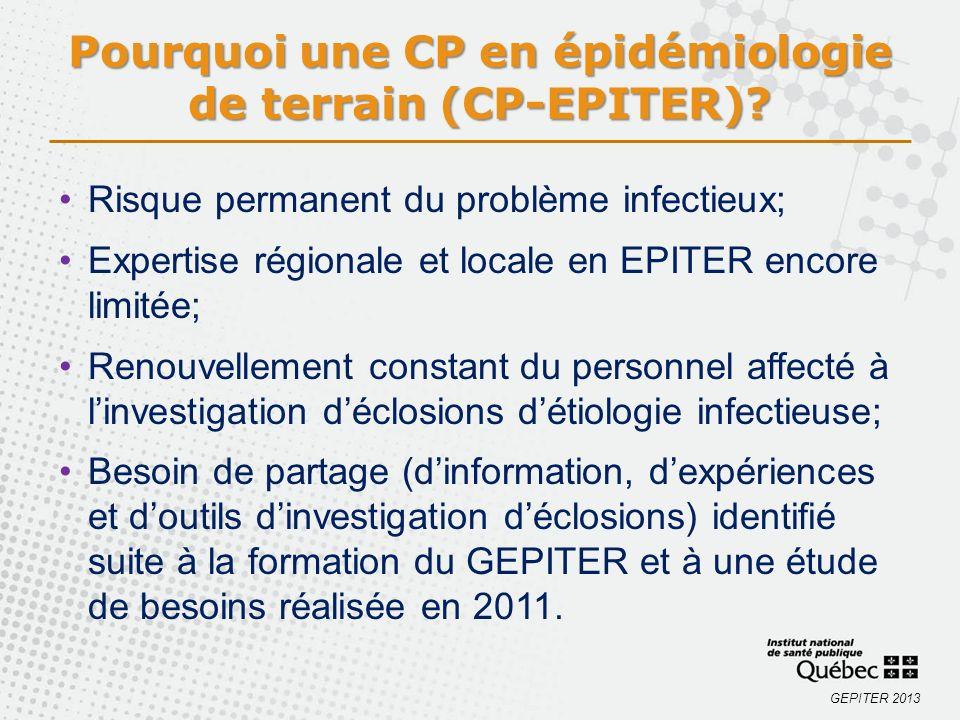 Pourquoi une CP en épidémiologie de terrain (CP-EPITER)