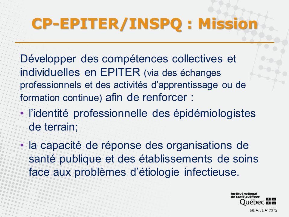 CP-EPITER/INSPQ : Mission